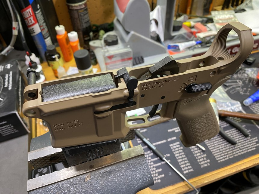 With the trigger and hammer installed, the lower was nearly complete.