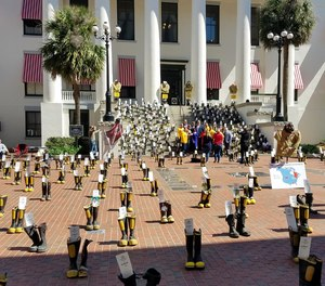 Each set of boots represented a Florida firefighter that is battling or lost a battle with cancer due to hazards in the fire industry.
