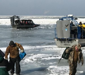 Crews rescued just under 40 people stranded on the ice sheet, while others were able to take their gear and head back to shore safely before any more ice broke off.