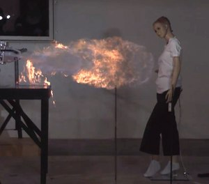 Flame jetting is a phenomenon that occurs when the vapors from a container with a flammable liquid (like gas or alcohol) ignite, causing the container to turn into a kind of flamethrower, propelling a blast of fire that can extend as far as 10 or 15 feet.