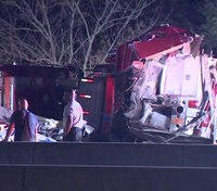 Tractor-trailer crashes into 3 staged fire apparatus