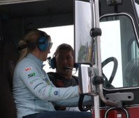 Watch: IndyCar driver drives fire truck to raise awareness for organ donation