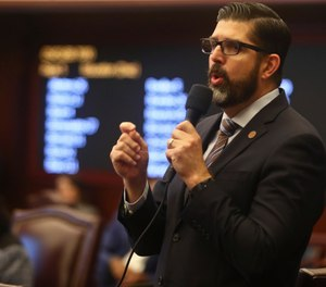 Sen. Manny Diaz, Jr., R-Hialeah, closes on his Senate Bill 7030: Implementation of Legislative Recommendations of the Marjory Stoneman Douglas High School Public Safety Commission, Tuesday, April 23, 2019, in the Florida Senate in Tallahassee, Fla. The bill passed 22-17. (AP Photo/Phil Sears)  Date:	Apr 23, 2019 1:10PM (GMT 18:10) Slug:	School Safety-Florida Headline:	School Safety-Florida Source:	FR170567 AP
