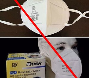 The CDC issued a warning on its website about possible counterfeit respirators, including Shanghai Dasheng DTC3X respirators with ear loops. West Virginia reportedly distributed 50,000 DTC3X respirators with ear loops to first responders. (Photo/CDC)