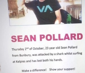 Surfer Sean Pollard was rescued by an off-duty paramedic and bystanders after a shark attack. (Screenshot IndieGoGo)
