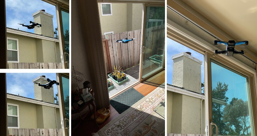 A Skydio S2 uses its vision-based AI to navigate through an open patio door while the pilot is on the opposite side of the house.