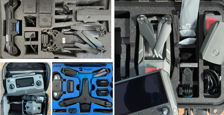 Drones shown in their protective cases with spare batteries and controllers. Clockwise from Left: Skydio X2, DJI Mavic 2 Pro, Skydio S2 and DJI Mavic 2 Zoom in soft case. While a soft case offers less protection, it is easier to carry for officers and park rangers who patrol on foot or bicycle.