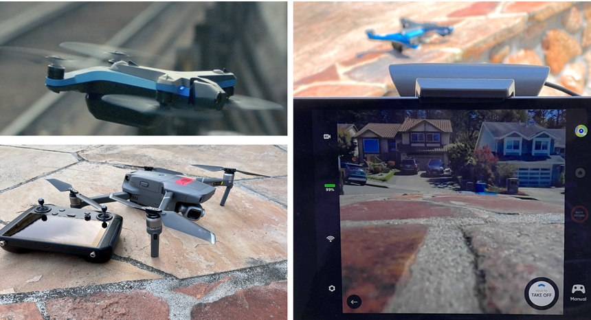 Clockwise from left: Skydio S2 in flight, BYOD tablet connected to the controller with a Skydio S2 drone seen above it ready for takeoff, DJI Mavic 2 Pro with controller. Note how the DJI drone has all four propellers above the motors and the two-axis camera gimbal is underneath the drone body. Skydio drones have 2 top- and 2 bottom-mounted props and the three-axis main camera is clear of the drone body with 180 degrees of vertical freedom. The drone has an unobstructed 360 field of view using the body and motor arm cameras.