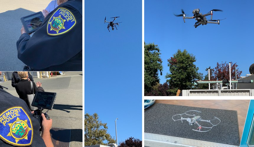 Fremont PD officers flying a DJI Matrice (center), DJI Mavic 2 Enterprise and a DJI Mavic 2 Enterprise with prop guards.