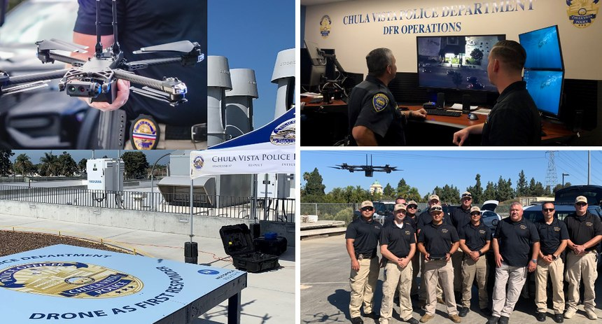 Chula Vista PD has one of the leading Drone as First Responder (DFR) programs in the nation. Clockwise from top left: Skydio X2, DFR Ops center, DFR staff, CVPD rooftop launch pad – note the pop-up tent which protects the maintenance/battery swap technician.