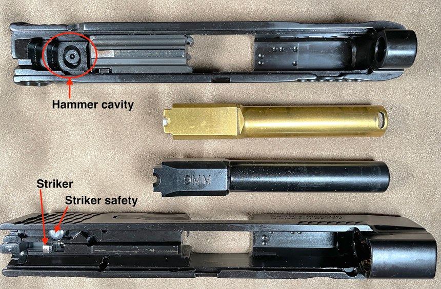 Figure 2: The Performance Center version comes plain or with gold or silver highlights and a barrel port forward of the slide.