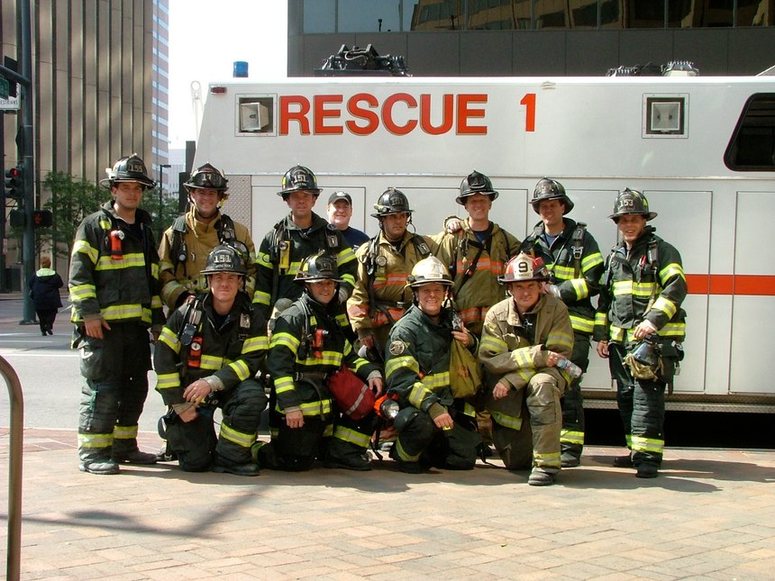 Some participants from year two of the stair climb in honor of the 343.