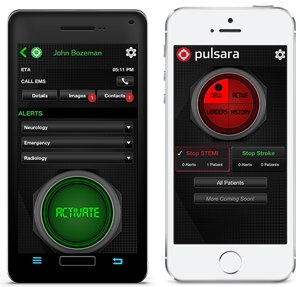 Pulsara's interface on Droid and iPhone.