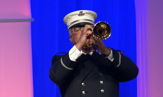 """Minogue played """"Taps"""" to conclude the ceremony."""
