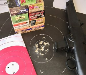 The Ruger never jammed or misfired with numerous types of ammunition. Pink target shows three rounds at 50 yards from a rest. Silhouette target shows 30 rounds standing offhand at 25 yards with iron sights, outstanding reliability and accuracy from Ruger. (Photo/Steve Tracy)