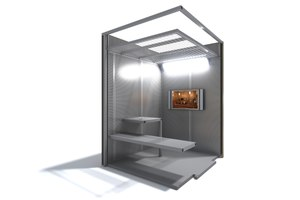 The Secure Video Visitation Booth can facilitate confidential legal consultations, judicial hearings, mental competency hearings, telehealth appointments and family visitation.