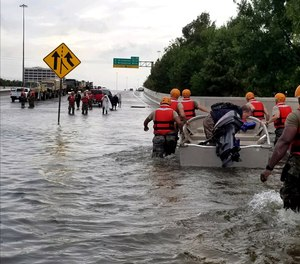Water rescue operations conducted by the Texas National Guard during Hurricane Harvey.