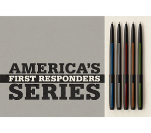 Fisher Space Pen has released a First Responder Series featuring five pens with different colored thin lines corresponding to five different first responder professions. (Photo/Fisher Space Co.)