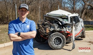 MedStar Mobile Healthcare Paramedic Trey McDaniel survived the 133-vehicle pileup in Fort Worth last month and then aided other victims despite his own injuries.