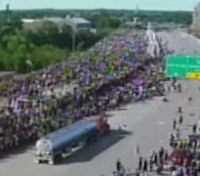 Video: Truck drives full-speed toward protesters in Minneapolis