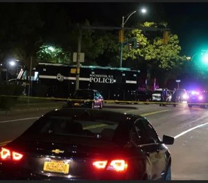 Rochester police responded early Saturday, Sept. 19, 2020, to reports of a shooting near the intersection of Goodman Street and Pennsylvania Avenue, not far from the Public Market. (Photo/Will Cleveland/Rochester Democrat and Chronicle)