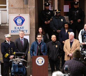Jersey City officials held a press conference detailing measures enacted to curb COVID-19 spread among first responders at JCPD East District on Sunday, March 22, 2020. (Photo/Michael Dempsey/The Jersey Journal)