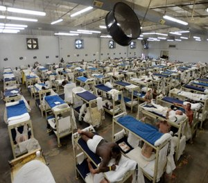 Inmates in a dormitory at Staton Correctional Facility in Elmore, Ala.