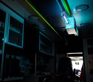 A UVC lamp seen in operation inside of an MMR ambulance on Tuesday, April 7, 2020 in Saginaw, Mich. (Photo/Riley Yuan, MLive.com)