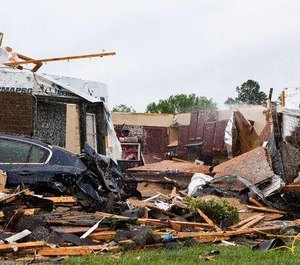 An Easter Sunday tornado ripped through Monroe, La., causing damage to homes and the city's regional airport on Apr. 12, 2020. (Photo/Nicolas Galindo/The News-Star)