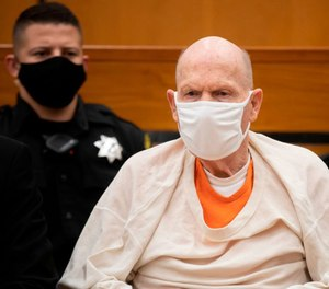 Defendant Joseph James DeAngelo looks on in the courtroom during the third day of victim impact statements at the Gordon D. Schaber Sacramento County Courthouse on Aug. 20, 2020, in Sacramento, California.