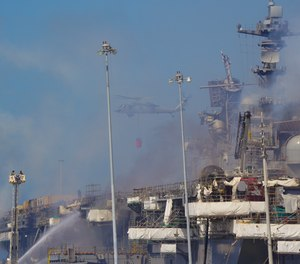 Navy officials say 11 out of the 14 decks on the USS Bonhomme Richard were damaged in the blaze that burned for four days starting on July 12. (Photo/Nelvin C. Cepeda, The San Diego Union-Tribune)
