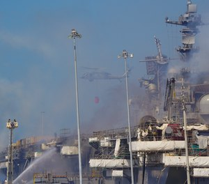 Navy officials say 11 out of the 14 decks on the USS Bonhomme Richard were damaged in the blaze that burned for four days starting on July 12.