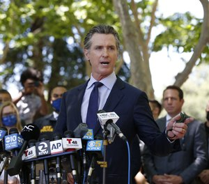 California Gov. Gavin Newsom speaks during a news conference on May 26, 2021.