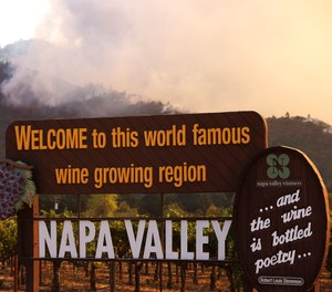 Smoke from the Glass Fire rises from the hills on Sept. 27, 2020 in Calistoga, CA. (Justin Sullivan/Getty Images)