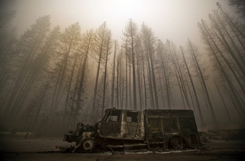 Burned trees rise above a truck destroyed by the Dixie Fire in the town ofGreenville.