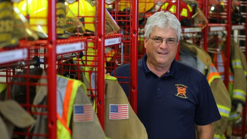 Fire Chief Mike Folgert, shown on Sept. 1, 2021, has volunteered with the Town of Peshtigo Fire Department for 35 years.