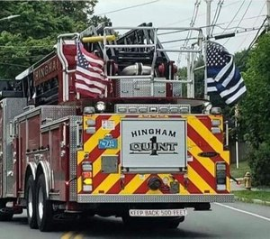 Hingham fire trucks have flown a thin blue line flag for the last two years to honor Weymouth Sgt. Michael Chesna, who was killed in the line of duty in July 2018. (Facebook photo via The Patriot Ledger/MCT)