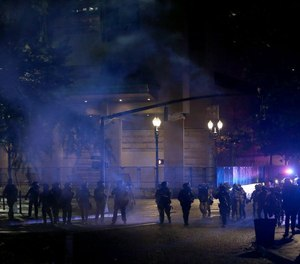 Police in Portland, Oregon during protests over the death of George Floyd.