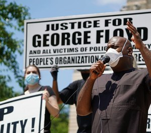 Mayor Ras Baraka speaks as the Young Professionals for Justice and People's Organization for Progress hold a rally July 4, 2020 to support the Black Lives Matter movement in Newark, New Jersey.