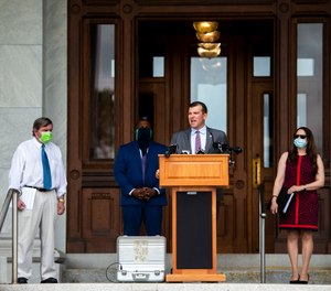 Rep. Steve Stafstrom talks about police accountability legislation at a news conference outside the Capitol earlier this summer. (Photo/Kassi Jackson/The Hartford Courant)