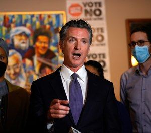 California Gov. Gavin Newsom speaks during a news conference in San Francisco on Aug. 13, 2021.