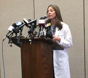 Ohio Department of Health Director Amy Acton speaks at a Tuesday, Jan. 28 news conference at Miami University in Oxford, Ohio. She briefed reporters on the status of ongoing testing to a suspected case of coronavirus in a student who recently traveled to China. (Photo/Andrew J. Tobias, cleveland.com)