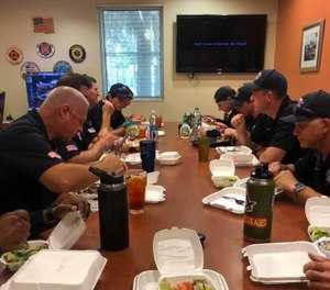 Boynton Beach firefighters ordered lunches from Mana Greek Bistro. (Photo/Shawn Weeks)