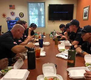 Boynton Beach firefighters ordered lunches from Mana Greek Bistro.