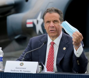 New York Gov. Andrew Cuomo said at a press briefing at the Intrepid Sea Air Museum on Memorial Day that families of frontline personnel who die from COVID-19 will be entitled to death benefits. (Photo/Luiz C. Ribeiro for New York Daily News, TNS)