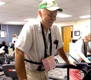 Frank Briggs at the University Hospitals Geauga Medical Center where he undergoes rehabilitation after a heart attack in June. (Photo/Tribune News Service by Bob Gaetjens)