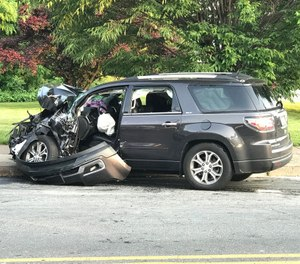 This vehicle and two others were involved in a June 2018 crash with a Harrisburg fire truck that is the subject of a newly-filed lawsuit. (Photo/Christine Vendel, PennLive)