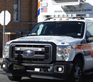 This photo shows an ambulance from the Jersey City Medical Center. U.S. senators supporting a bill that would ensure line-of-duty death benefits for the families of first responders who die from COVID-19 say about 20 first responders have died from the virus in New Jersey alone. (Photo/Joe Shine, The Jersey Journal)