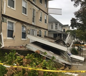 Multiple decks collapsed during the annual firefighters weekend injuring several people. (Photo/Tribune News Service)