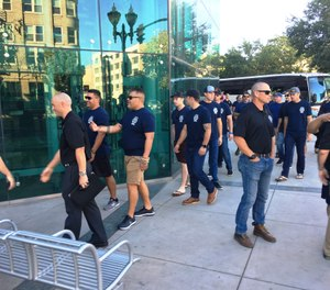 Firefighters from Stockton and throughout San Joaquin County arrive  at the County Administration Building after marching together in solidarity from Station 2. (Photo/Tribune News Service, Joe Goldeen, The Record)
